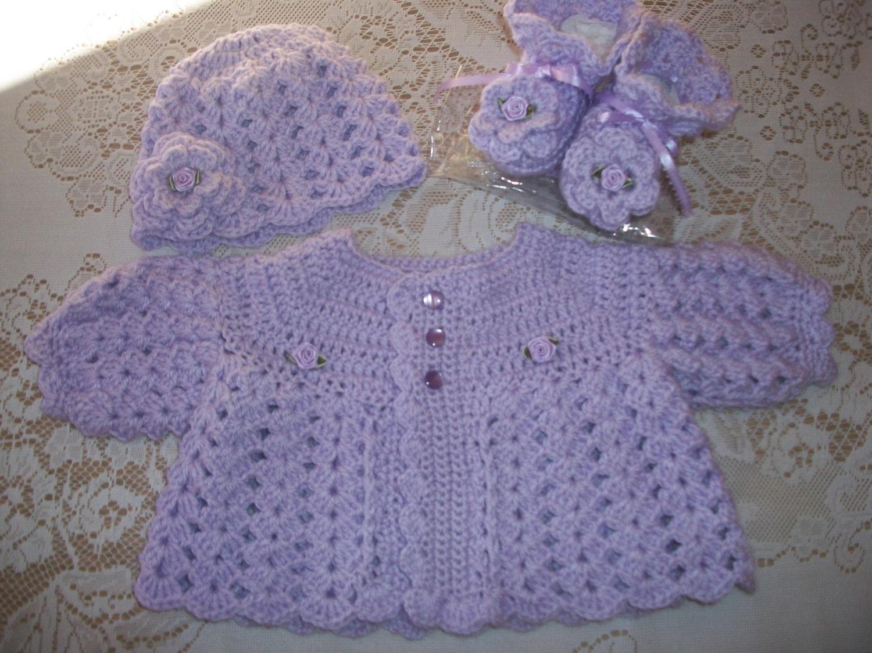 crochet baby girl lavender sweater set layette for take me. Black Bedroom Furniture Sets. Home Design Ideas