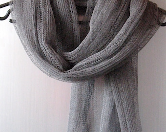 Linen Scarf Shawl Wrap Stole Dark Gray, Light, Transparent SALE