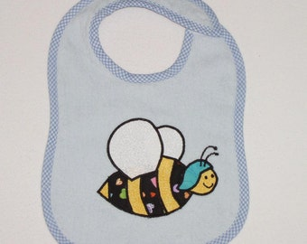 Bumble Bee Toddler Bib - Bumble Bee Applique Blue Terrycloth Toddler Bib