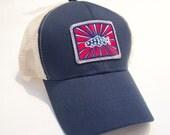 Navy Raised Patch Logo Trucker Cap  BadAxeDesign art of Jonathan Marquardt