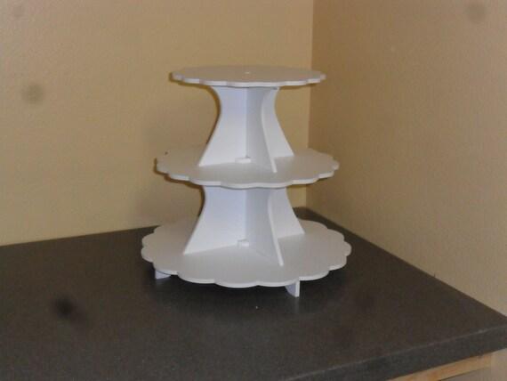 "3 Tier Cake / Cupcake Stand 5"" White PVC 9, 11, 13"
