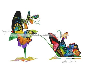 Jeweled Wings Butterfly Shoe 2013  - Signed and Enhanced with Watercolor - Free Shiping