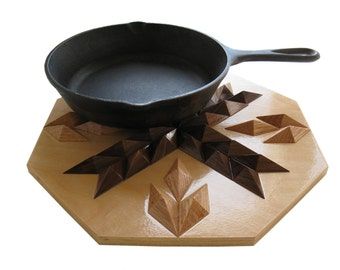 Wood Hot Pad. Geometric wood decor. Woodwork trivet, hotpad or wall art