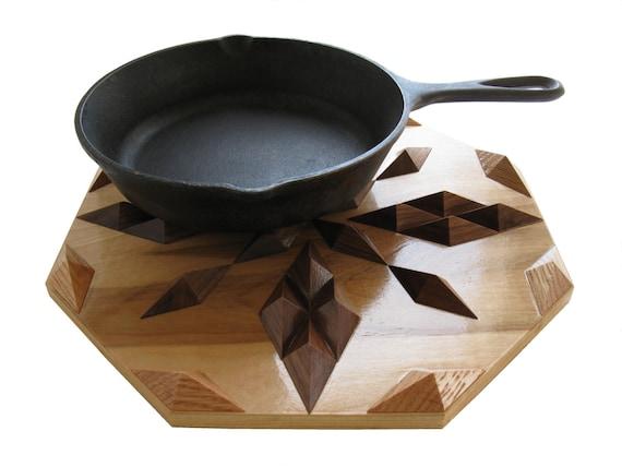 Wood decor hot pad, wooden centerpiece, kitchen wood art, trivet or geometric woodwork