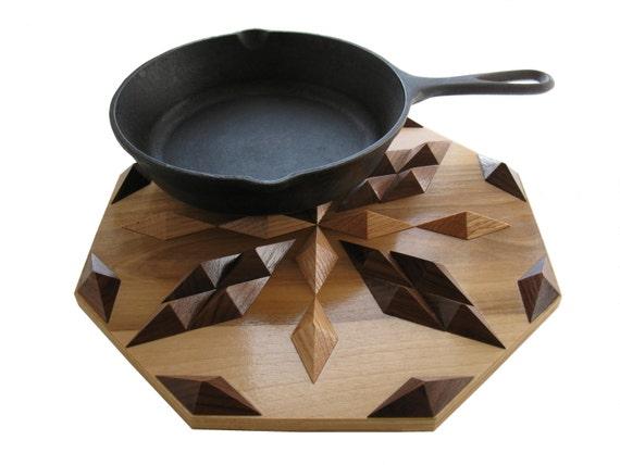 Wood Decor, Hot Pan Pad  or Table Centerpiece.  Geometric Wood Trivet