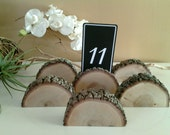 TREASURY ITEM - 15 Place card holders  - Wood place card holders - Table numbers - Tree slices - Rustic Wedding Decor