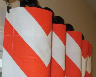 Orange Window Curtains, Window Treatments, Orange Curtain Panels, Curtains, Pair Curtain Panels, Modern Drapes, Zig Zag, Chevron