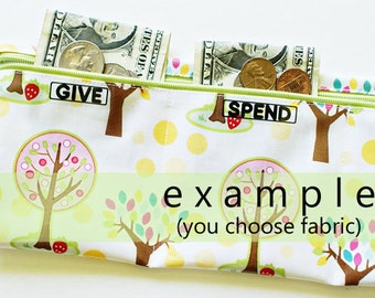 Girls Give Spend Save folding wallet for kids | 3 sections | your choice of laminated cotton fabric