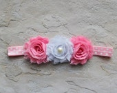 Baby headbands - Pink Polka Dot Shabby Headband - Baby Hair Accessories- Baby Bow Headband - Baby Hairbows - Baby Girl Headband