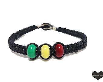 Rasta Bracelet, Black Hemp Bracelet, Glass Beads, macrame bracelet, personalized jewelry, mens bracelet, gift idea, Valentines Day Gift
