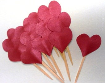 Valentines Day Cupcake Toppers Red Metallic Hearts