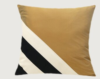 """Decorative Pillow Case, Thick Cotton Black-White and Gold silk fabric Throw pillow case, fits 18"""" x 18"""" insert, Toss Pillow case, Home Decor"""
