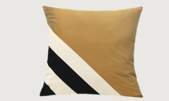 Black White And Gold Throw Pillows : Decorative Pillow Case Thick Cotton Black-White and Gold silk