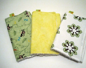 Absorbent burp cloth set.  Three pack of monkey and jungle burp cloths.