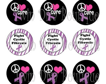 Peace Love Cure Cystic Fibrosis - 1 inch DIGITAL graphics for bottle caps