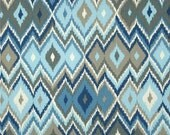 One Custom Twin Size Mattress Cover and Two 37 x 9 Bolster Covers for  Indoor/Outdoor - Ikat - Blue/Grey