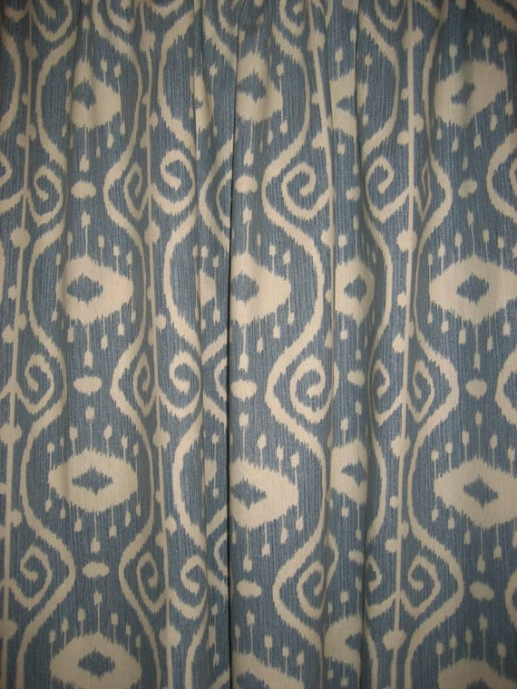... Rod Pocket Panels -100% Cotton IKAT Design Blue/Spa Green/Stone/Wheat