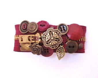 Cranberry Red and Brass Zipper Bracelet