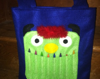 Monster Crayon Tote Bag Blue /Green