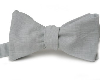 Grey Chambray Bow Tie