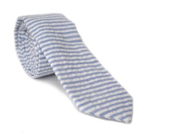 Horizontal Stripe Seersucker Skinny Tie