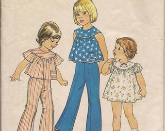 1976 Printed Sewing Pattern Simplicity 7365 toddler girls dress, top, pants size 3