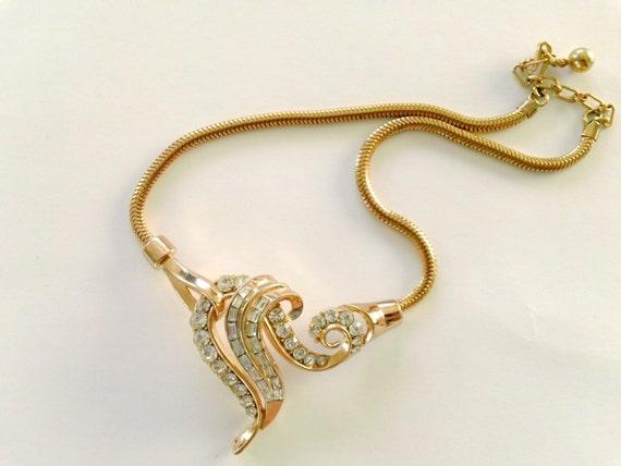 Vintage Trifari Necklace Rhinestone Bridal Fancy Mad Men Retro Party Jewelry