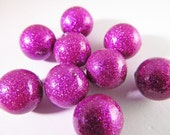 30 Vintage 10mm Round Purple-Violet Shimmery Lucite Beads Bd608