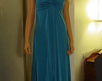 1970s Deep Rich Aqua Blue Jersey Halter Maxi Dress Excellent Condition