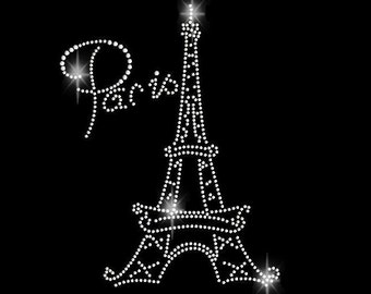 Paris Eiffel Tower Rhinestone Transfer Iron On Bling 34106