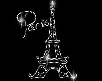 Rhinestone Transfer | Rhinestone Paris | Rhinestone Eiffel Tower | DIY Iron On | Iron On Bling | T Shirt Iron On | T Shirt Transfer | 34106