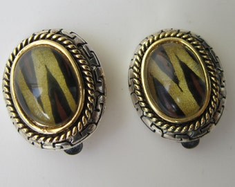Animal Print Silver & Gold tone Clip on Earrings
