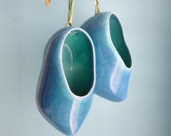 Blue Wooden Shoes, Ceramic Wooden Shoe Figurine, Baby Blue Nursery Decor, Baby Boy Gift, Dutch Boy Souvenir Knick Knacks, Ceramic Blue Clogs
