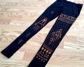 Handmade Geo/ Tribal Print  Capri Length Black Leggings