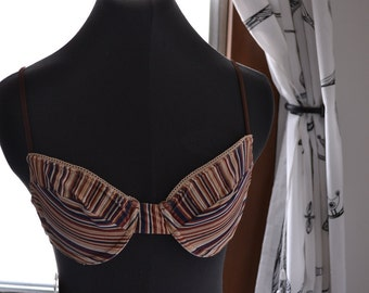 Vintage 1980s Striped Bikini Top with Crochet Trim-- Brand New with Tags