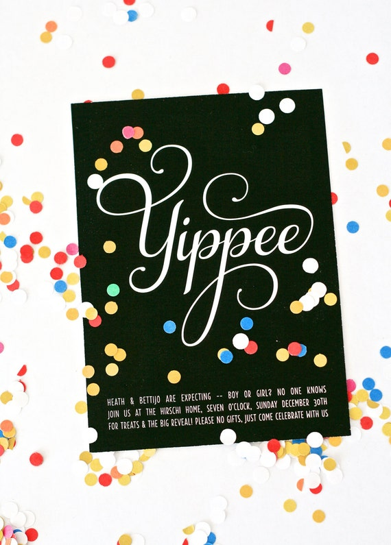 Yippee Gender Reveal Party Invitations Personalized Printable also good for Graduation Parties or Birthdays