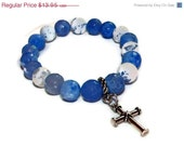 20% OFF Cherish - Agate Gemstone and Cross Charm Bracelet