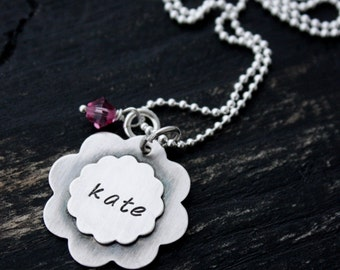 Personalized Custom Sterling Silver Soldered Flowers Birthstone Girls Daughter Mothers Necklace Christmas