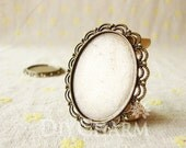 Antique Bronze Cameo Cabochon Base Settings 50x41mm ( Inner Size 40x30mm ) - 2Pcs - DS24837