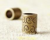 Antique Bronze Tone Crimp Tubes With 6mm Hole 10x8mm - 10Pcs - FJ26634