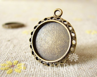 Antique Bronze Cameo Cabochon Base Settings 19x19mm ( Inner Size 15x15mm ) - 10Pcs - DS23605