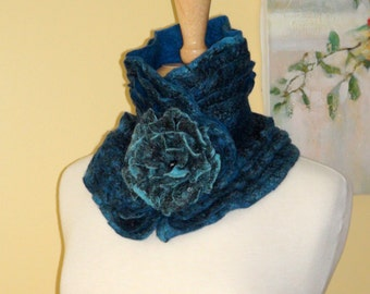 Felted scarf-collar  with Brooch