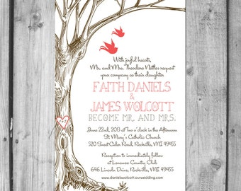Love Tree & Love Birds Wedding Invitation Set