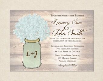 Mason Jar & Hydrangea Wedding Invitation Set