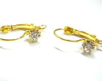 gold leverback rhinestone earwires with loop, crystal, bridal,wedding, 12pcs
