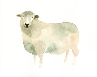 SHEEP  7x5inch Print-Art Print-animal Watercolor Print-Giclee Print-Children's Wall Art -5x7 Giclee Print