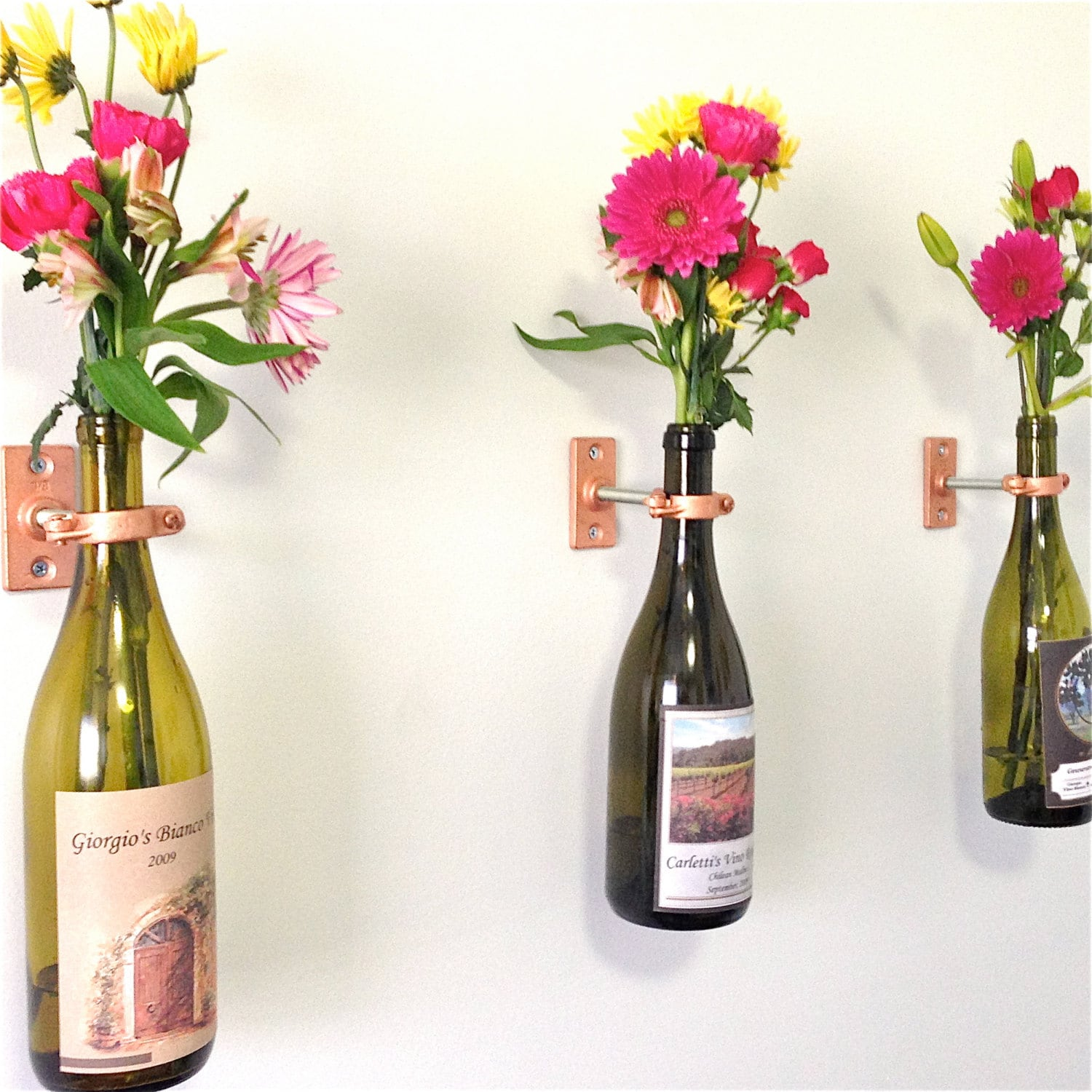 Hardware only 4 wine bottle wall flower vase kits diy or - Great decorative flower vase designs ...
