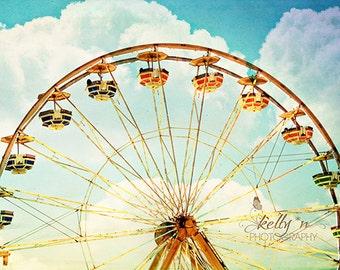 Ferris Wheel Photograph- Carnival Ride Photo, Fair Photography, Colorful Wall Decor, Nursery Decor, Kid Room Decor, Large Ferris Wheel Print