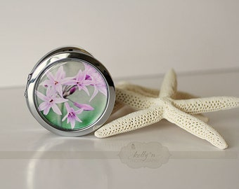 "Photo Compact  Mirror- ""Lavender Stars"", Lavender Flowers Photograph, 3"" Double Sided Mirror- Engravable Gift Item"