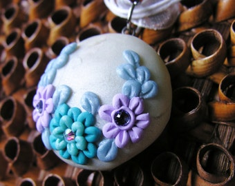 Flower Garden Pendant in Blues and Purples with Swarovski Crystals